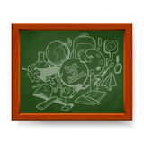 Back to school illustration, various school elements drawn in chalk on blackboard Stock Photo
