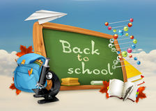 Back to school illustration on white and blue Royalty Free Stock Image