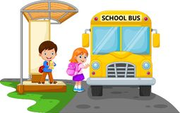 Back to school. Illustrations of children`s cartoon s go to school by bus. Isolated on white background Stock Photography