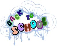 Colorful Back to school label isolated Stock Images