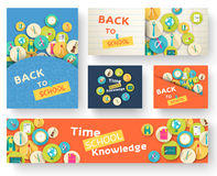 Back to school information pages set. Education template of flyear, magazines, posters, book cover, banner.  Royalty Free Stock Image