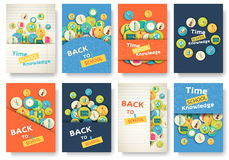 Back to school information pages set. Education template of flyear, magazines, posters, book cover, banner.  Royalty Free Stock Photo