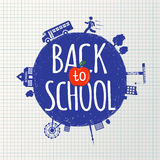 Back to school inscription on the background of notebook sheet in a cage and hand-drawn icons Stock Image