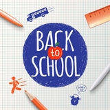 Back to school inscription on the background of school stationery items and icons hand-drawn. Back to school poster Royalty Free Stock Image