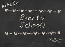Back to School! Inscription on blackboard. Blank black chalkboard, blackboard texture. School concept Stock Photos