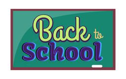 Back to School Inscription Written on Blackboard. Back to school poster with inscription written on blackboard with chalk. Green chalkboard hanging on wall Royalty Free Illustration