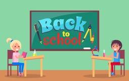 Back to School Inscription Written on Blackboard Stock Image