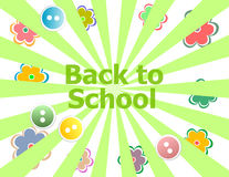 Back to school invitation card with abstract sun rays and flowers, education Royalty Free Stock Photo