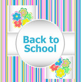 Back to school invitation card with flowers, education Stock Photo