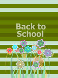 Back to school invitation card with flowers, education Royalty Free Stock Photography