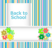 Back to school invitation card with flowers, education Stock Image