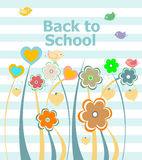 Back to school invitation card with flowers, education concept Stock Image