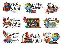 Back to School isolated sketch icons vector set Stock Photo