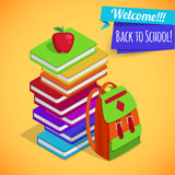 Back to school isometric background with pile of Royalty Free Stock Photography