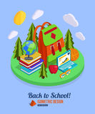 Back to school isometric background with pile of Stock Image