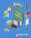 Back to school isometric 3d background with school Royalty Free Stock Images