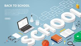 Back To School Isometric illustration royalty free illustration