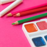 Back to school. Items for the school on pink background. Educa stock photo