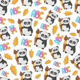 Back to School Kawaii. Seamless pattern with kawaii school supplies, back to school concept, cute cartoon characters - little panda, autumn leaf, alphabet or vector illustration