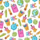 Back to School Kawaii. Seamless pattern with kawaii school supplies, back to school concept, cute cartoon characters - textbook, pencil case, alarm clock stock illustration