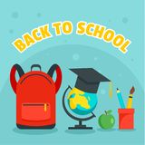 Back to school kid background, flat style royalty free illustration