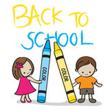Back to School Kids. Illustration of two kids holding crayons with the Back to School text on the background Royalty Free Stock Photos