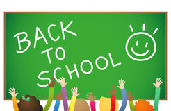 Back to school kids board hands Royalty Free Stock Images