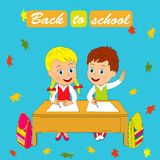 Back to school. Kids, boy and girl sit at the desk, illustration, vector Stock Photos