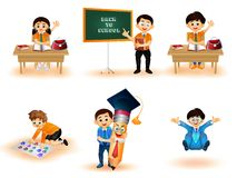 Back to School kids character performing different activities royalty free illustration
