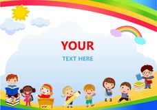 Back to school, kids school, education concept, Kids go to school, Template for advertising brochure, your text,Kids and frame,chi Stock Image