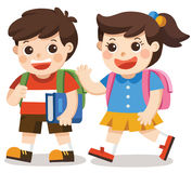 Back to school. kids going to school with bag pack. Royalty Free Stock Photos