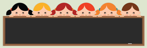 Back to school.Kids holding a blackboard. Vector illustration Royalty Free Stock Photography