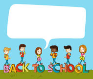 Back to school kids over text with social bubble. Royalty Free Stock Images