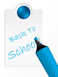 Back to school label with blue marker Royalty Free Stock Image