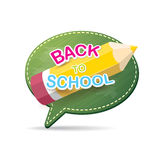 Back to school label on green speech bubble Royalty Free Stock Images