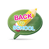 Back to school label on green speech bubble Royalty Free Stock Photos