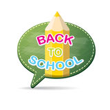 Back to school label on green speech bubble Stock Photo