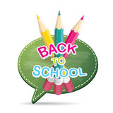 Back to school label on green speech bubble Stock Photos