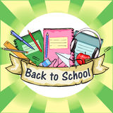 Back to School label with ribbon banner Stock Photography