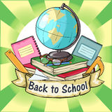 Back to School label with ribbon banner Royalty Free Stock Image