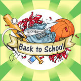 Back to School label with ribbon banner Royalty Free Stock Photos