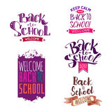 Back to school label set. Welcome back to school labels. School 2017 tags set. Back to school logo collection. Vector illustration. Hand drawn lettering badges Royalty Free Stock Photo