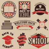 Back to school. Labels, badges and design elements for flyer, po Stock Image