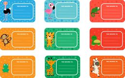 Set of school labels with cute animals and birds. Tiger, monkey and seven more funny animals. stock illustration