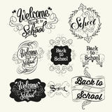 Back to school labels. Lettering and calligraphic Royalty Free Stock Photo