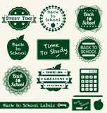 Back to School Labels and Stickers. Collection of back to school retro labels and stickers Royalty Free Stock Photo
