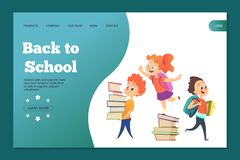 Back to school landing template. Web banner with vector cartoon students stock illustration