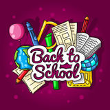 Back to school. Large color illustration with inscription and school supplies on a bright background. Royalty Free Stock Photos