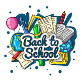 Back to school. Large color illustration with inscription and school supplies on a white background. Globe, pencils, notebooks, te Stock Photography