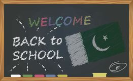 Back to school with learning and childhood concept. Banner with an inscription with the chalk welcome back to school and the Pakis stock illustration
